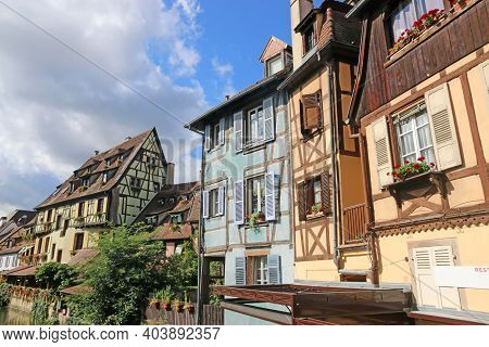 Houses By A Canal In Colmar, Alsace, France