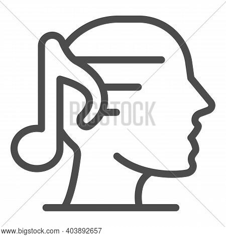 Human Head With Note Line Icon, Creation Concept, Head Outline With A Musical Note Sign On White Bac