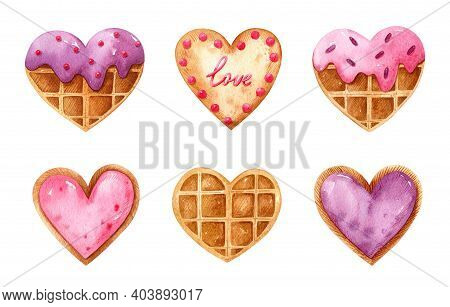 Valentine's Day Watercolor Set With Heart Shaped Desserts. Belgian Waffles With Glaze And Sprinkles