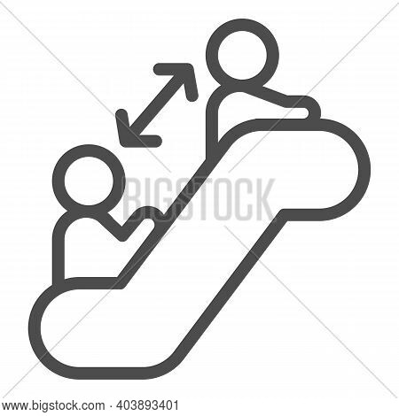 Distance Between Two People On Escalator Line Icon, Social Distancing Concept, Prevention In Public