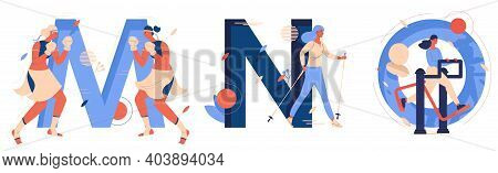 Capital Letters M For Muay Thai, N For Nordic Walking, O For Outdoor Gym. Educative Collection With