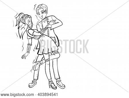 An Illustration Of A Person Dancing Tango