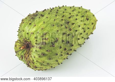 Delicious Tropical Fruit Soursop In A White Surface
