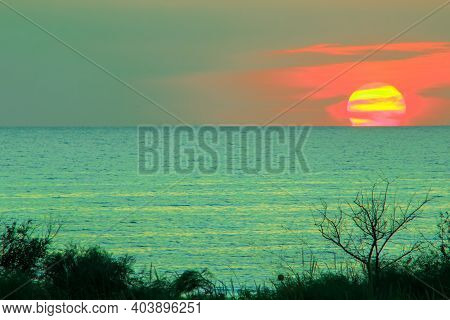Amazing Colorful Sunset Of Fantastic Color Over The Sea. Waterscape