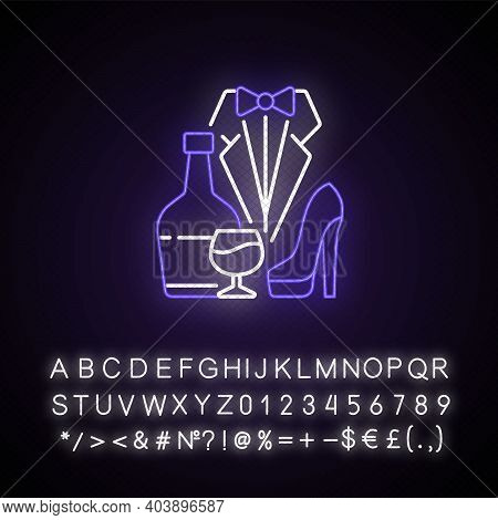 Bachelor Party Neon Light Icon. Drinks For Event. Club For Man. Special Occasion. Stag Party. Outer