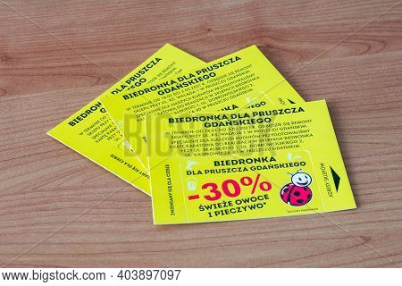 Pruszcz Gdanski, Poland - January 17, 2021: Discount Cards To Biedronka For Fresh Fruits And Baked G