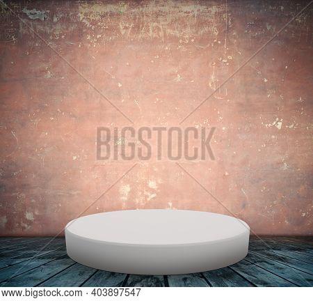 podium on floor, old interior concrete wall