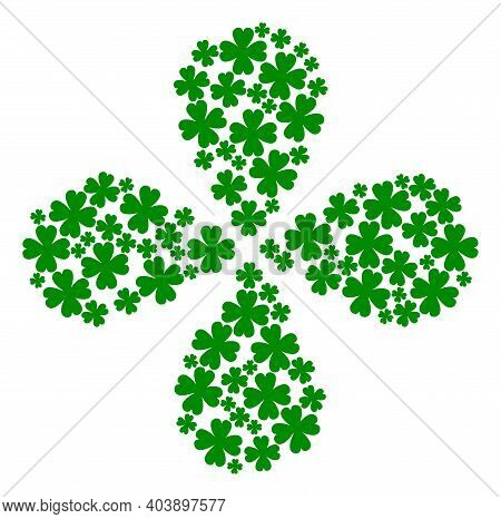 Four Leaf Clover Curl Composition. Element Curl Created From Oriented Four Leaf Clover Symbols. Vect