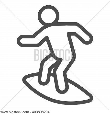 Man On Surfboard Line Icon, Waterpark Concept, Surfer Sign On White Background, Surf Rider On Surfbo