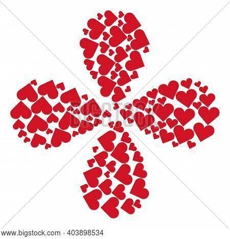 Playing Card Heart Suit Twirl Flower Cluster. Object Curl Organized From Oriented Playing Card Heart