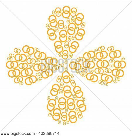 Marriage Rings Curl Flower With Four Petals. Element Flower With 4 Petals Combined From Oriented Mar