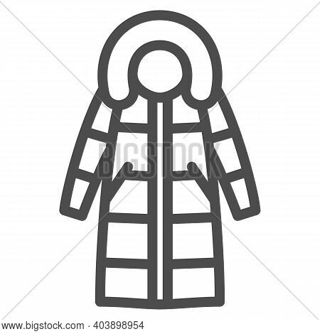 Women Warm Coat Line Icon, Winter Clothes Concept, Classic Parka Sign On White Background, Warm Wint