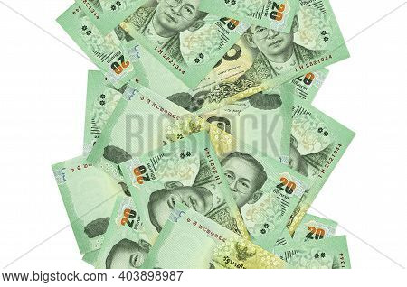 20 Thai Baht Bills Flying Down Isolated On White. Many Banknotes Falling With White Copy Space On Le