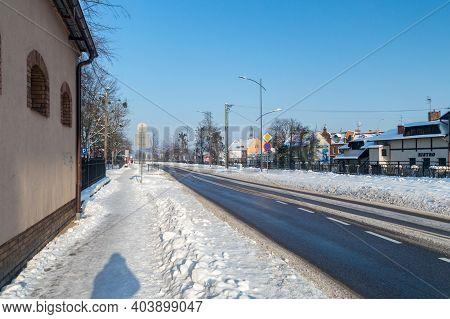 Pruszcz Gdanski, Poland - January 17, 2021: Street In Pruszcz Gdanski At Winter Time.