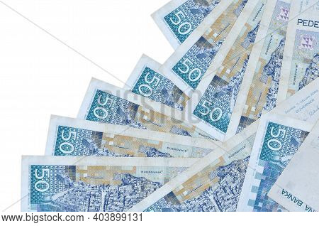 50 Croatian Kuna Bills Lies In Different Order Isolated On White. Local Banking Or Money Making Conc