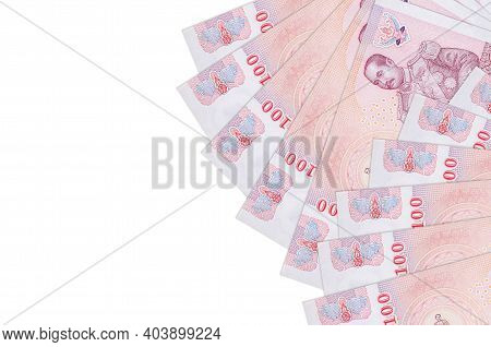 100 Thai Baht Bills Lies Isolated On White Background With Copy Space. Rich Life Conceptual Backgrou