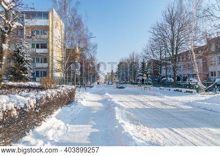 Pruszcz Gdanski, Poland - January 17, 2021: Street Covered By Snow In Poland.