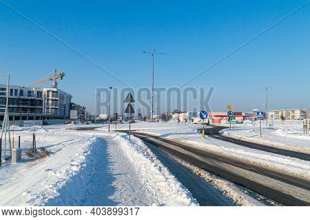 Pruszcz Gdanski, Poland - January 17, 2021: Snowy Street In Poland.