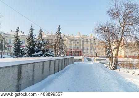 Pruszcz Gdanski, Poland - January 17, 2021: Starostwo Building At Winter Time.