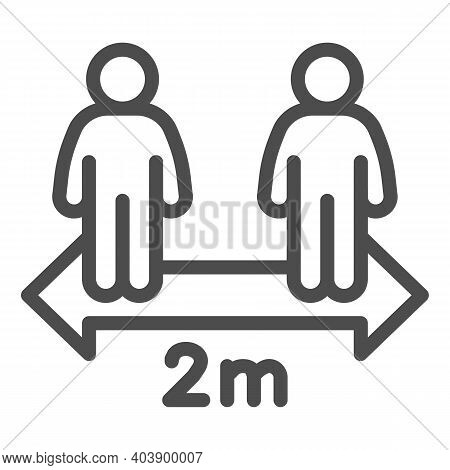 Keep Distance Between People Two Meter Line Icon, Social Distancing Concept, Two Meters Covid-19 Sep
