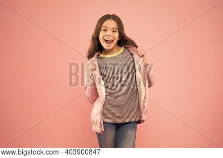 Casual Brings Joy. Happy Girl In Casual Wear Pink Background. Little Child In Casual Style. Casual W