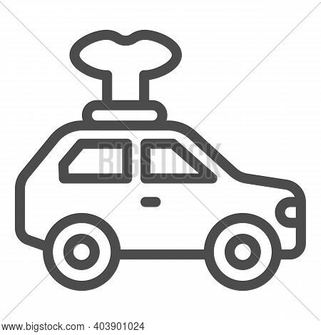 Car Toy With Key Line Icon, Kid Toys Concept, Mechanical Toy Vehicle With Winding Key Sign On White