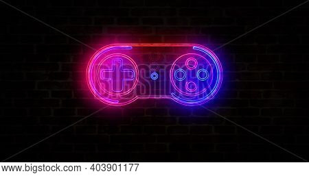 Gaming Pad Symbol, Esport, Video Controller, 5g Game And Cyber Sport Neon Sign On Brick Wall Concept