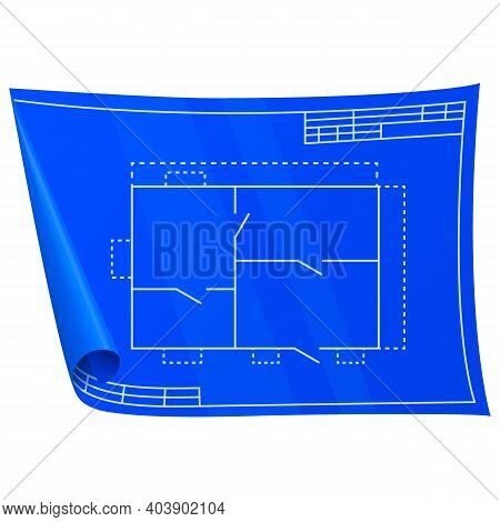 Technical Drawing. Nice New Drawing Of Blue Drawing Paper With House Drawing. For Builders And Mecha