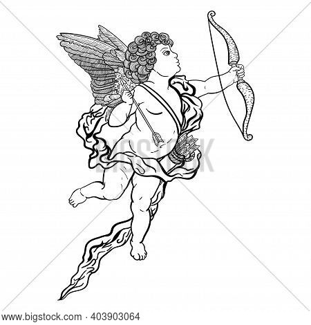 Cupid With Bow And Arrow, Outline Drawing Of Black Color Isolated On White Background, Stock Vector