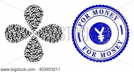 Yuan Currency Curl Fireworks, And Blue Round For Money Dirty Watermark With Icon Inside. Object Flow