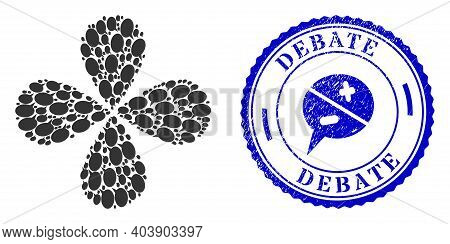Forum Message Curl Flower With Four Petals, And Blue Round Debate Dirty Stamp Seal With Icon Inside.