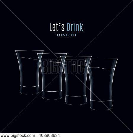 Vodka Glass Logo. Many Shots Of Vodka On Black