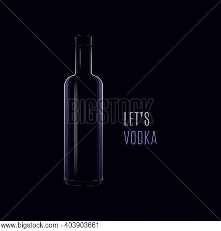Vodka Dark Logo. Bottle Of Vodka With Cap On Black