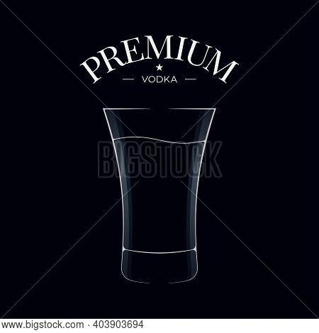 Vodka Glass Logo. Shot Of Vodka On Black