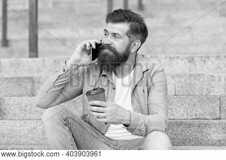 Hi Dear. Modern Urban Life. Bearded Man Phone Conversation. Mobile Conversation. Personal Communicat