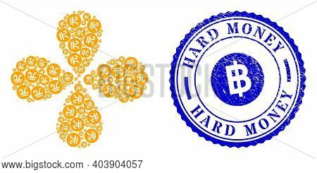 Chinese Yuan Coin Swirl Abstract Flower, And Blue Round Hard Money Textured Stamp Imitation With Ico