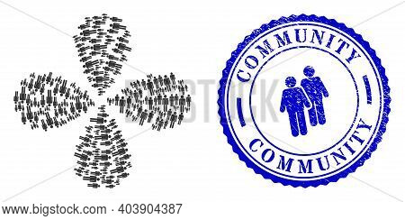 Men Figures Exploding Flower Shape, And Blue Round Community Rough Seal With Icon Inside. Object Flo