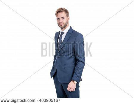 Perfect For Office And Special Occasions. Handsome Guy In Suit Isolated On White. Formal Wear. Class