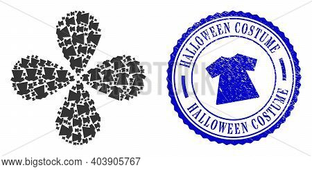 Lady Dress Exploding Flower With Four Petals, And Blue Round Halloween Costume Corroded Rubber Print