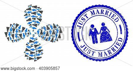 Marriage Persons Centrifugal Flower Shape, And Blue Round Just Married Scratched Rubber Print With I