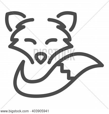 Fox Head And Tail Line Icon, Social Distancing Concept, Wild Forest Animal Sign On White Background,
