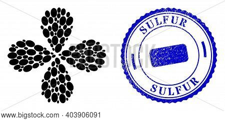 Ellipse Swirl Fireworks, And Blue Round Sulfur Rubber Stamp With Icon Inside. Element Flower With 4