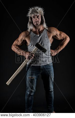 Strong Blacksmith Hold Hammer Tool In Muscular Arms Biceps Triceps In Casual Wear Black Background,