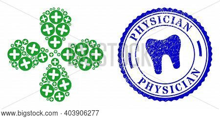Veterinary Plus Centrifugal Flower With Four Petals, And Blue Round Physician Textured Stamp With Ic