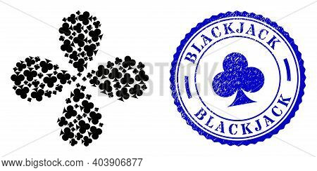 Playing Card Club Suit Centrifugal Flower With Four Petals, And Blue Round Blackjack Rough Seal With