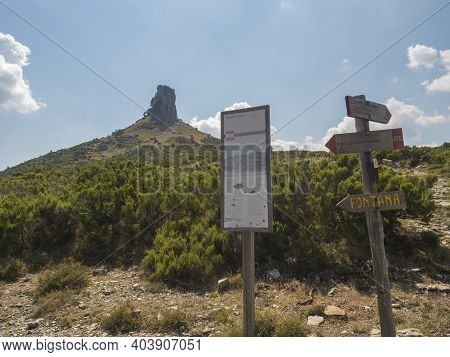 National Park Of Barbagia, Nuoro, Sardinia, Italy, September 16, 2020: View Of Tourist Guidepost And