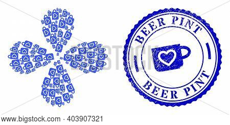 Favourite Cup Swirl Flower With Four Petals, And Blue Round Beer Pint Grunge Badge With Icon Inside.