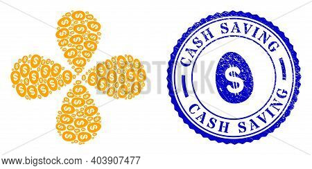 Dollar Deposit Egg Centrifugal Flower With Four Petals, And Blue Round Cash Saving Rough Rubber Prin