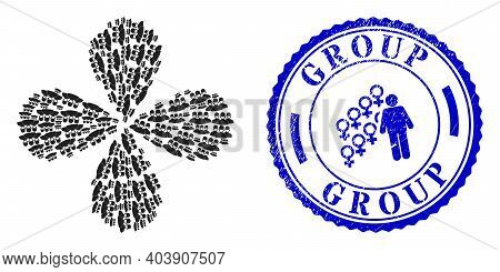 Mask People Group Rotation Flower With Four Petals, And Blue Round Group Rubber Badge With Icon Insi