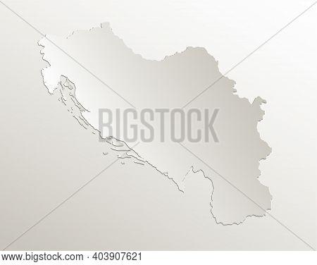 Yugoslavia Map Card Paper 3d Natural Blank